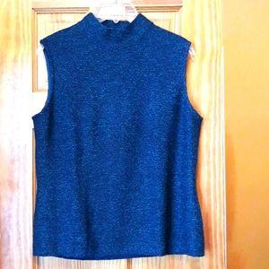 St. John's Blue Knit Mock Neck Sleeveless Top